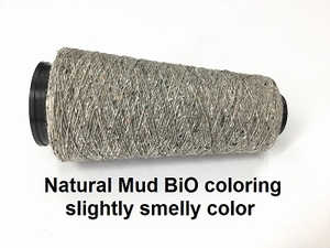 Bourette de Luxe zijde 20 Nm Natural mud bio coloring  500 meter/cone
