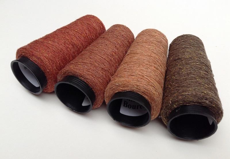 Bourette de Luxe   100% Soie 20/1Nm 4 color Rost RedBrown