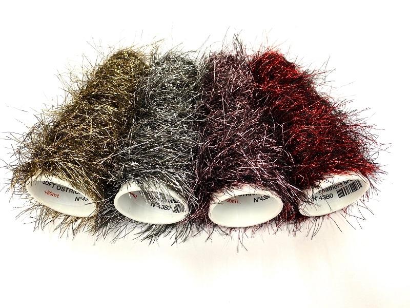 Hautecouture soft metaloïde OstrichFeathers rouge