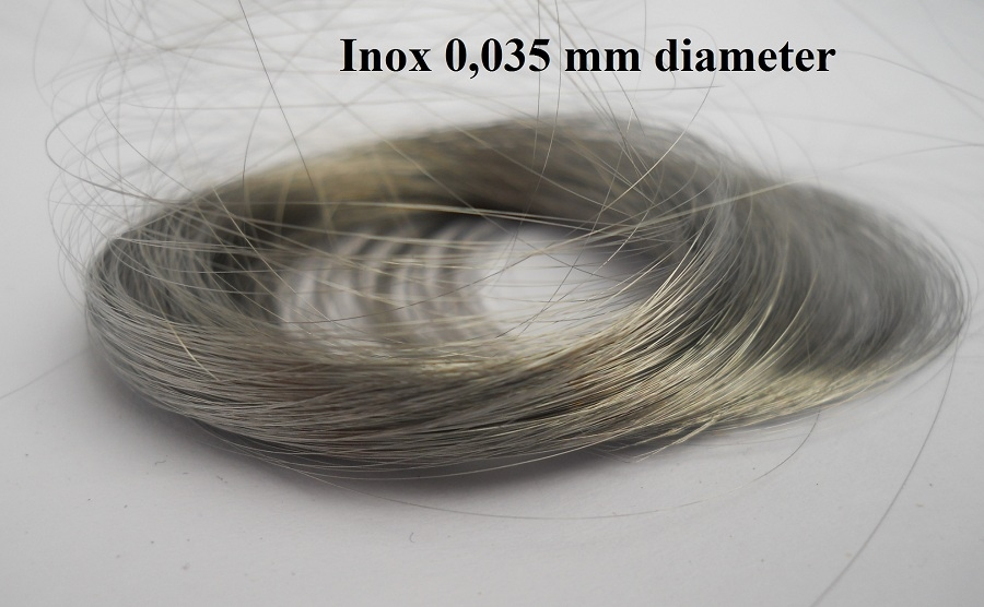 Inox staaldraadje 0.0355mm diameter