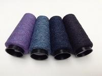 Bourette de Luxe   100% Seide 20/1Nm 4 color LilaViolet Bleu 4 cones